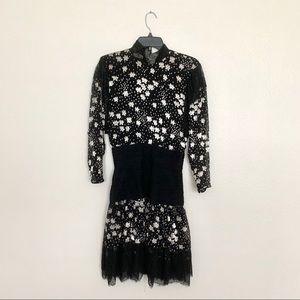 Vintage Valentino Boutique Black Embroidered Dress